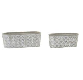 set de 2 Cache pot en ciment motif cœurs 13x13x24 cm