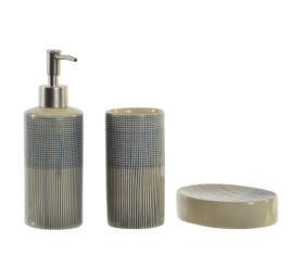 Set de 3 accessoires de salle de bain en grès RÂPÉ BLEU 6,5X6,5X18,5 cm