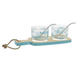 Set de Planche apérative Bleu marine Poisson avec 2 verres (5 piéces)