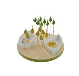 Set de Planche apérative Ananas en bois et vérine en porcelaine (13 pièces)