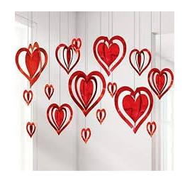 Kit de décoration 3D cœur en rouge 16 pièces