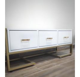 Meuble TV blanc avec métal en doré 40*120*45H