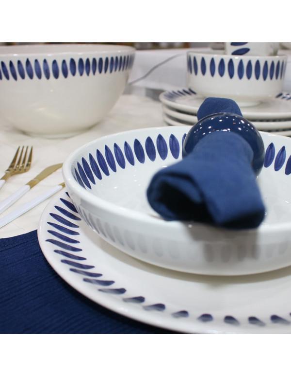 Service à table 25 pièces Carthage plume bleu