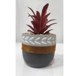 Plante artificielle avec pot en ciment noir 15x8,5 cm