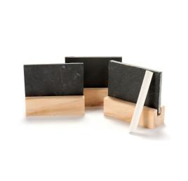 Set de 3 mini tableu ardoise en noir+ crayon
