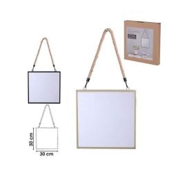Miroir carré en métal avec corde 30 cm