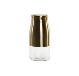 Pot en verre et métal doré 11,5X11,5X24,6 cm