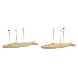 SET DE 2 PLANCHES APARTIVE FORME POISSON EN BOIS 27X8,5X14,5 cm