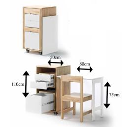 Bureau pliable MDF avec chaise encastrées
