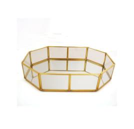 Plateau miroir doré 20x14 cm