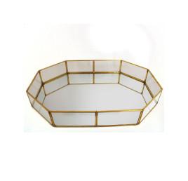 Plateau miroir doré 42x23 cm