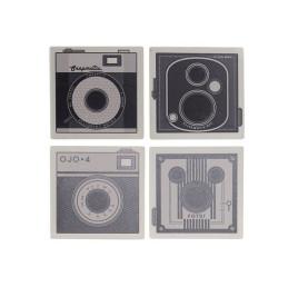 SET de 4 DESSOUS DE VERRE photo 10,8X10,8X0,7cm