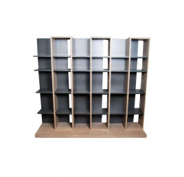 Bibliothèque graphite/chêne 3 MODULES 150X60cm